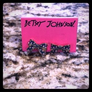 Betsey Johnson Bow Earrings with Rhinestones NWT